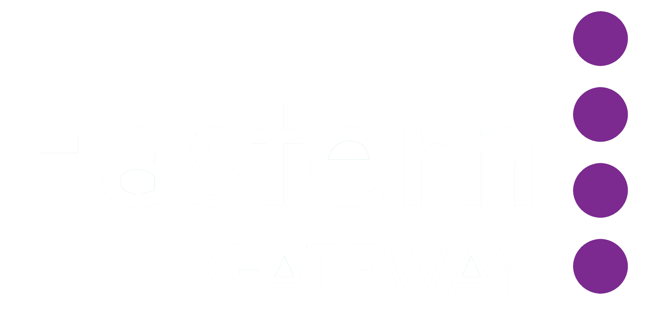 Eastern Gateway text in white next to four vertical purple circles